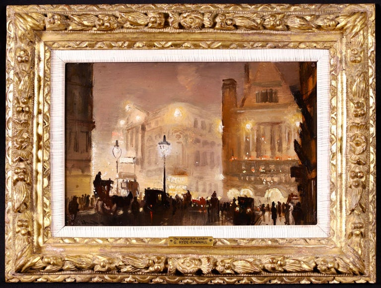 The Haymarket - Impressionist Oil, Cityscape at Night by George Hyde Pownall For Sale 1