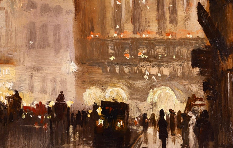 The Haymarket - Impressionist Oil, Cityscape at Night by George Hyde Pownall For Sale 3