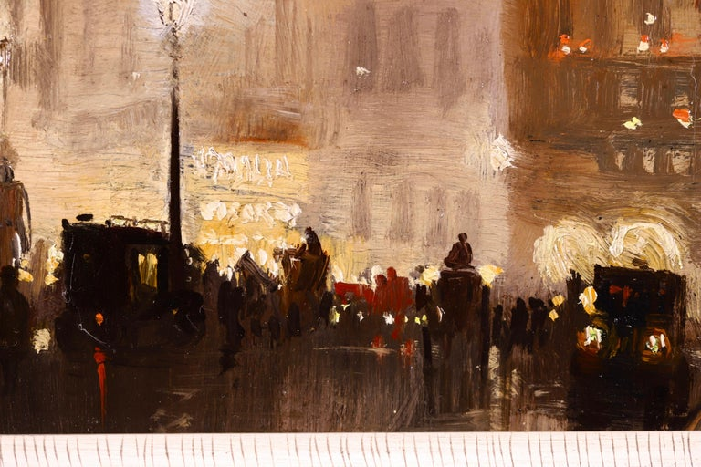 The Haymarket - Impressionist Oil, Cityscape at Night by George Hyde Pownall For Sale 4