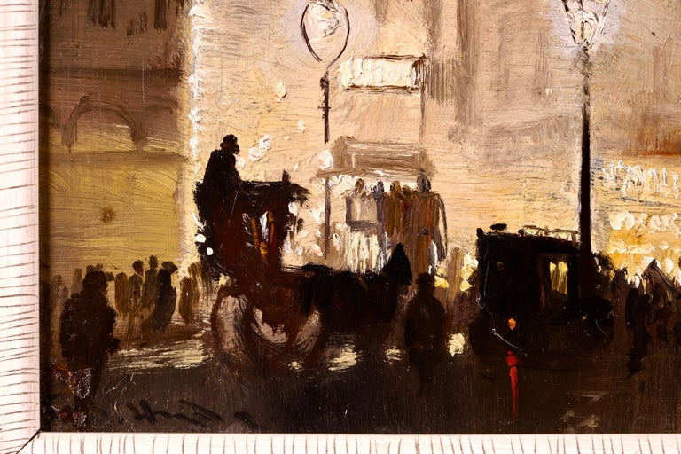 The Haymarket - Impressionist Oil, Cityscape at Night by George Hyde Pownall For Sale 5