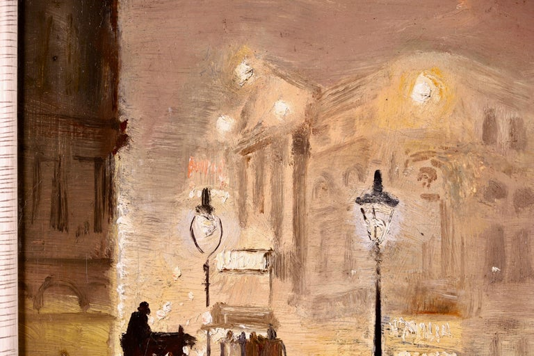 The Haymarket - Impressionist Oil, Cityscape at Night by George Hyde Pownall For Sale 6