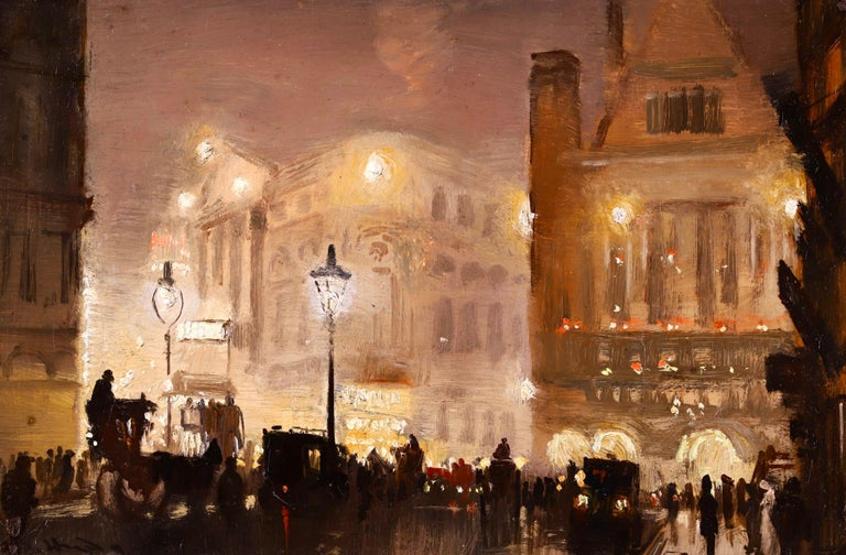 A beautifully painted oil on board circa 1895 by English impressionist painter George Hyde Pownall depicting the Haymarket in the west end of London. The silhouettes of the people and horse and carts on the bustling street contrast against the