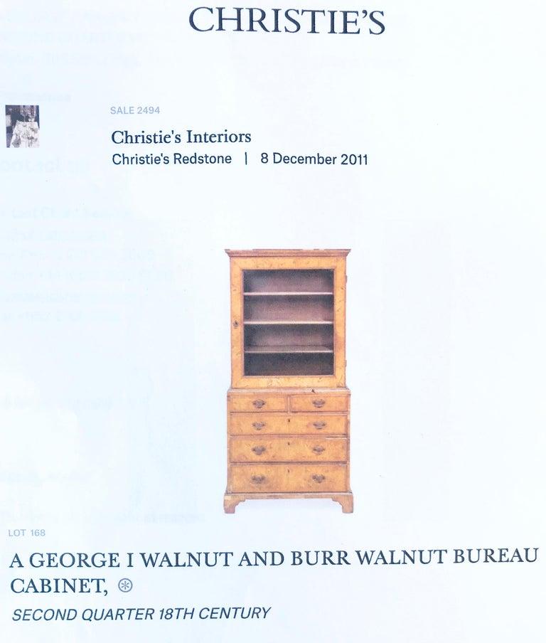 George I Burr Walnut and Walnut Bureau Bookcase For Sale 4