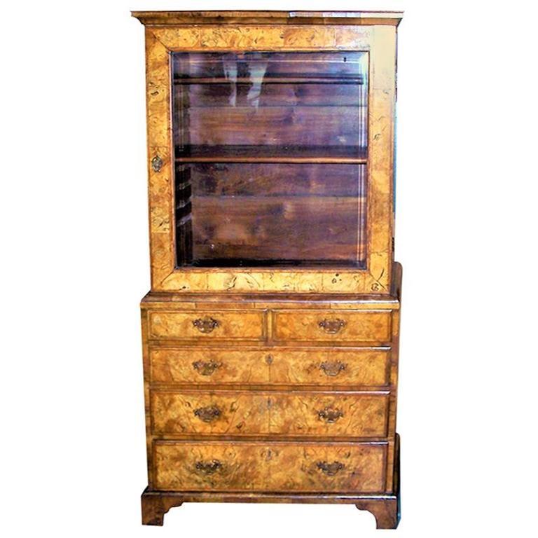 George I Burr Walnut and Walnut Bureau Bookcase For Sale