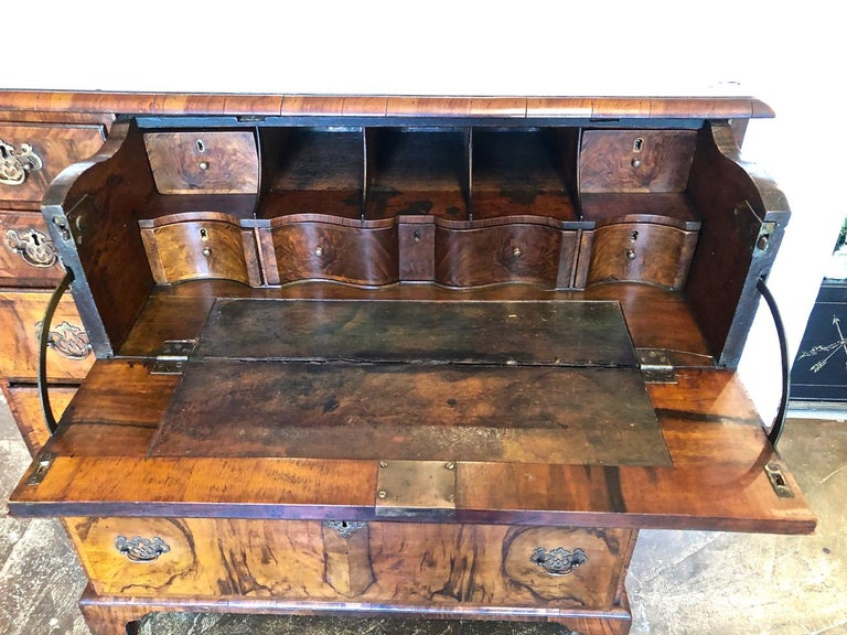 English George I Burr Walnut Chest of Drawers, circa 1720-1730 For Sale