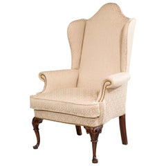 George I Design Walnut Framed Wing Chair