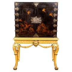 George I Giltwood and Japanned Cabinet on Stand