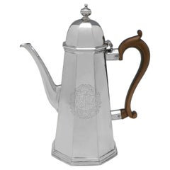 George I Octagonal Antique Sterling Silver Coffee Pot by Francis Garthorne, 1722