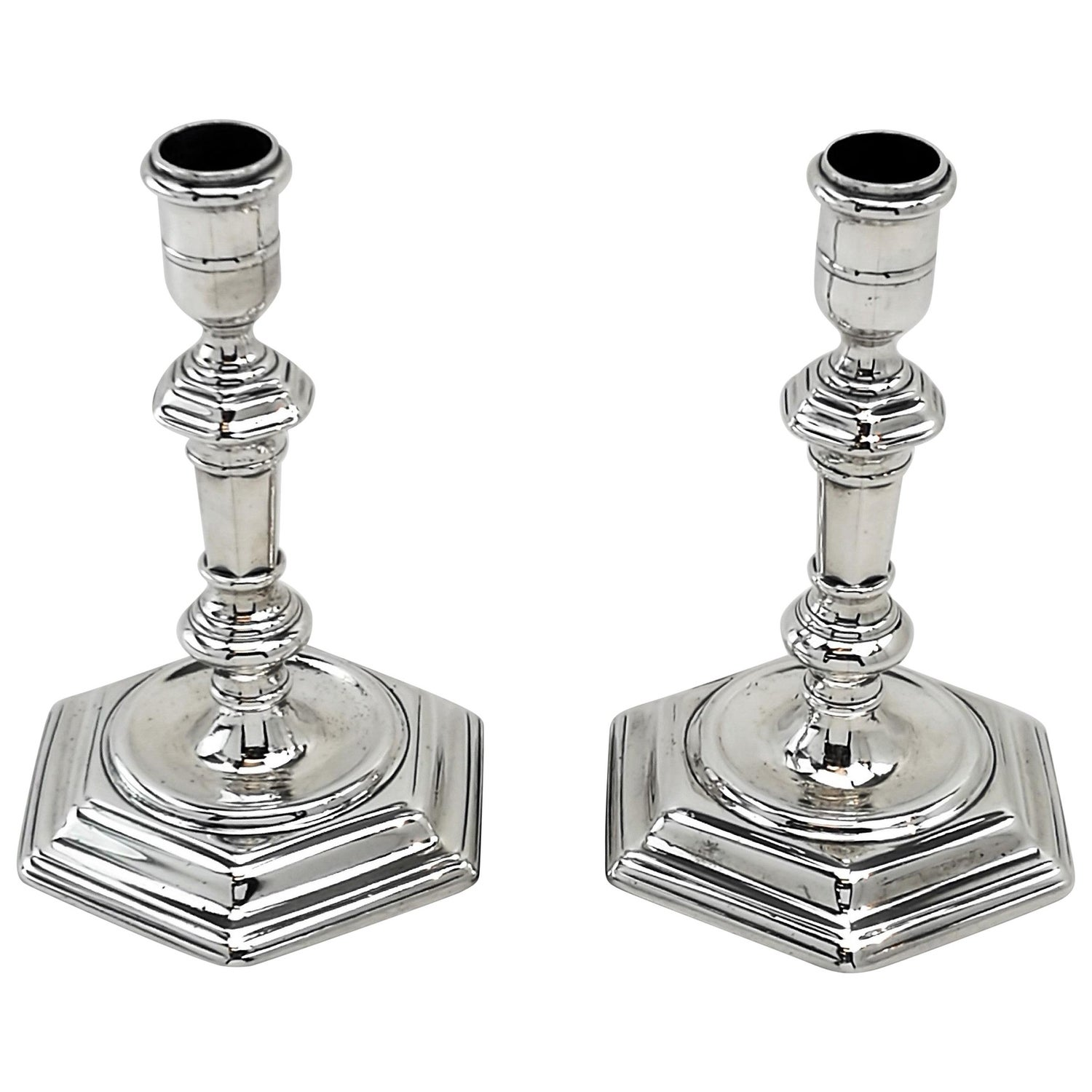 George I Pair Sterling Silver Candlesticks Early Georgian 1721 18th Century