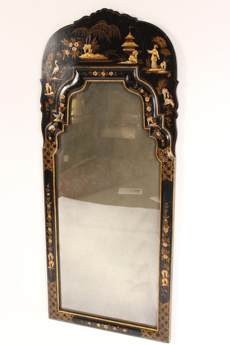 Unknown George I Style Black Chinoiserie Decorated Mirror For Sale