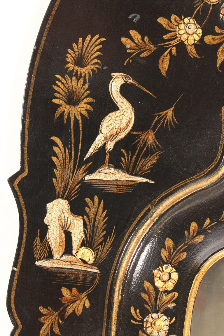 George I Style Black Chinoiserie Decorated Mirror For Sale 1