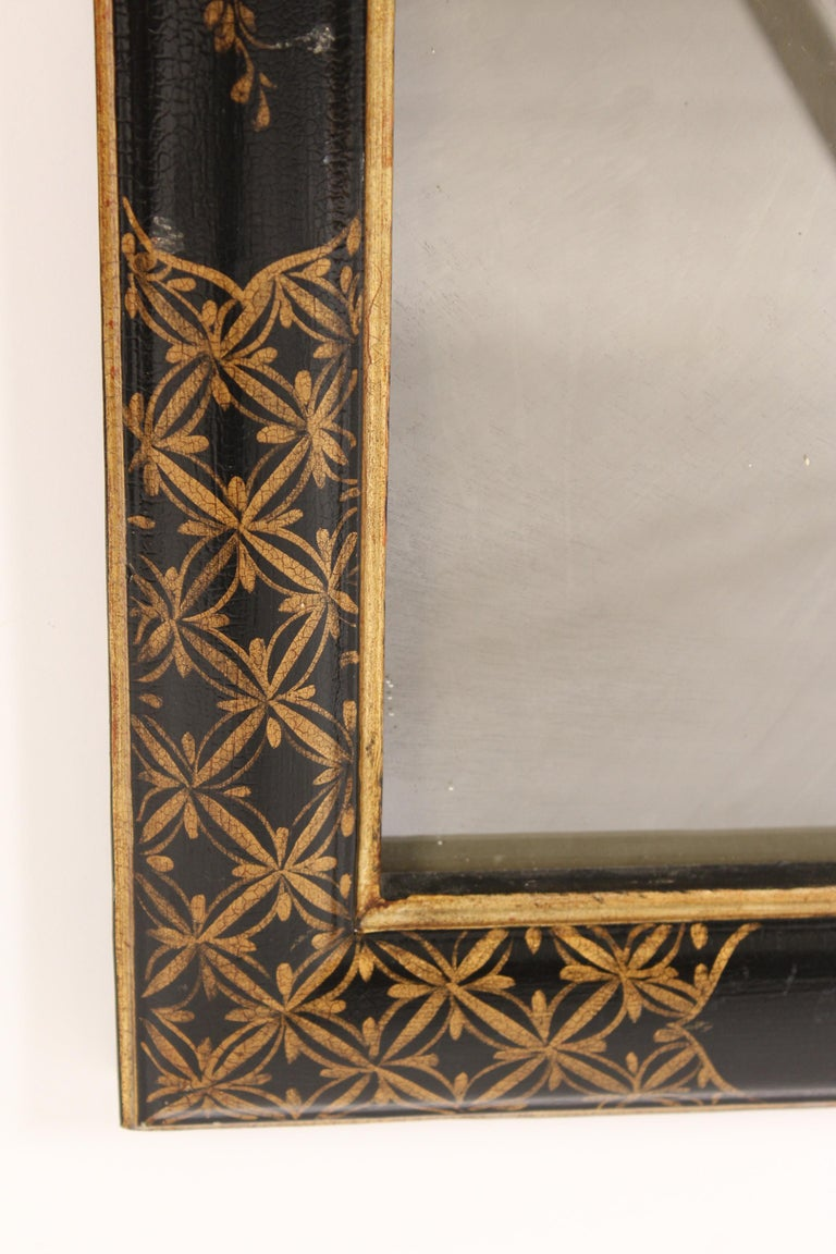 George I Style Black Chinoiserie Decorated Mirror For Sale 3