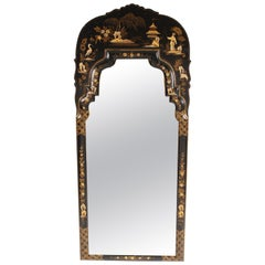 George I Style Black Chinoiserie Decorated Mirror