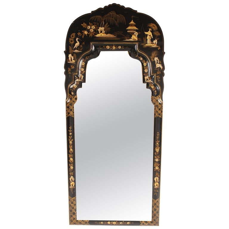 George I Style Black Chinoiserie Decorated Mirror For Sale