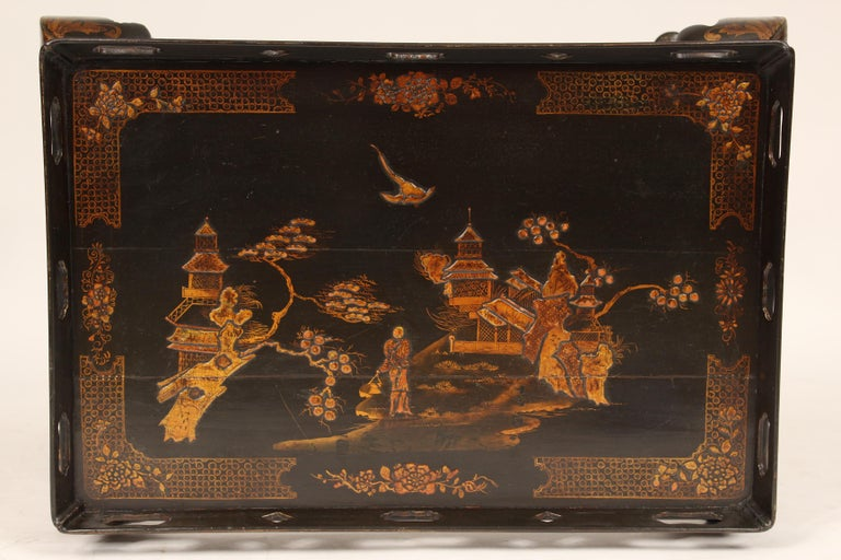 Wood George I Style Black Chinoiserie Decorated Occasional Table For Sale