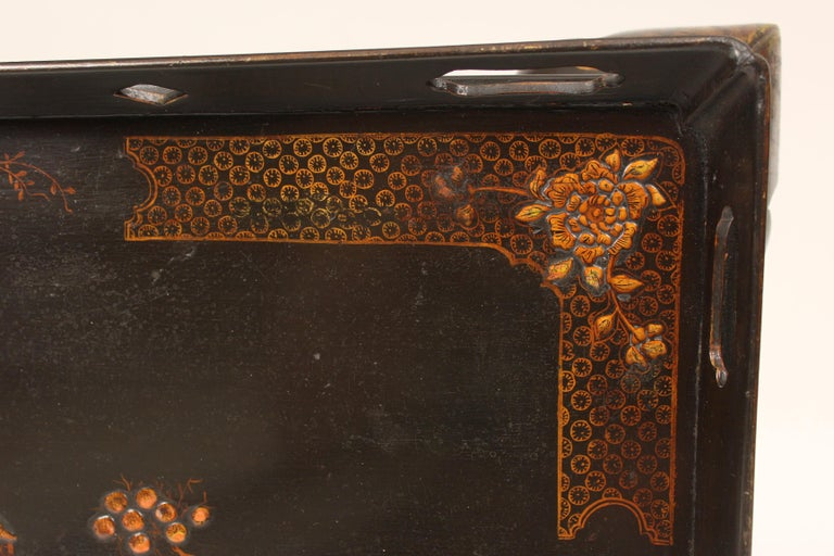 George I Style Black Chinoiserie Decorated Occasional Table For Sale 2