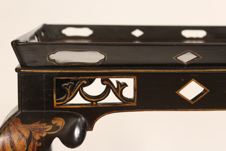 George I Style Black Chinoiserie Decorated Occasional Table For Sale 3