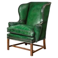 George III Green Leather Wing Armchair