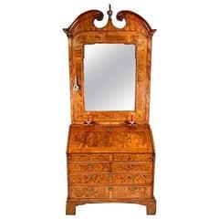 George I Walnut Bureau Bookcase Cabinet