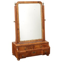 George I Walnut, Crossbanded and Featherbanded Toilet Mirror