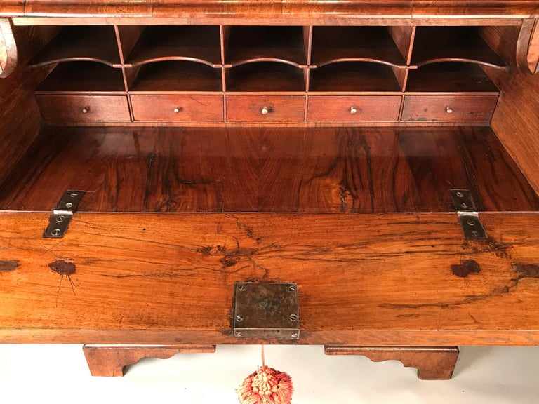 English George I Walnut Secretaire Kneehole Desk For Sale