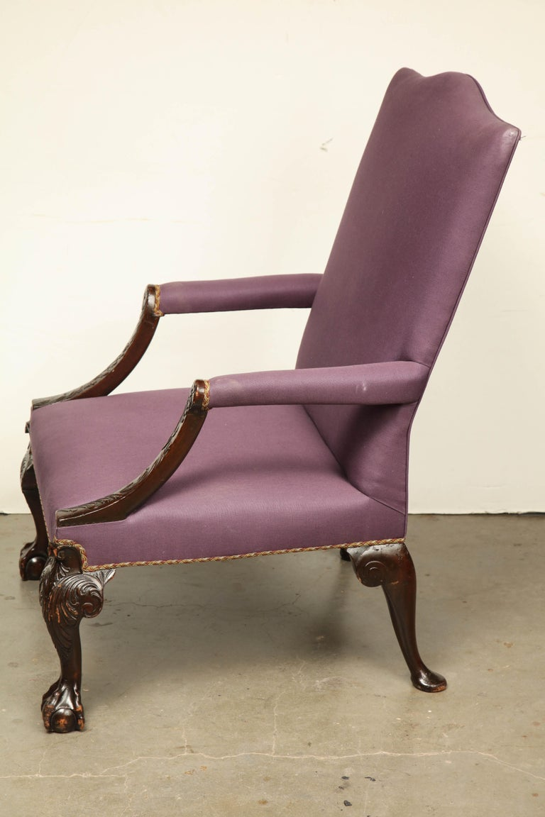 George II Ball and Claw Foot Gainsborough Armchair For Sale 2