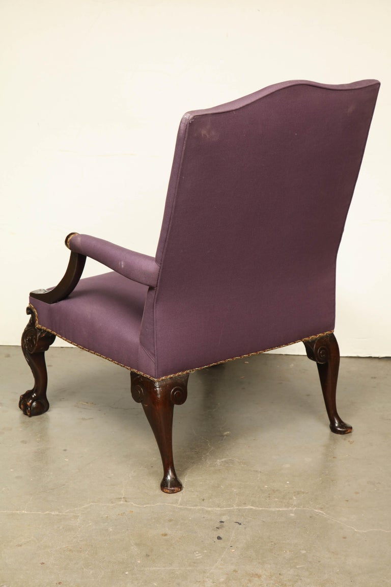 George II Ball and Claw Foot Gainsborough Armchair For Sale 3