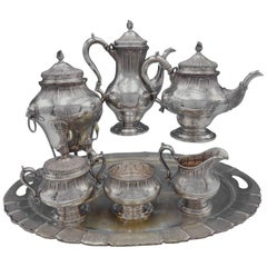 George II by Tuttle Sterling Silver Tea Set 6-Piece with Silverplate Tray