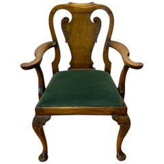 Queen Anne Style Carved Mahogany Armchair, circa 1830