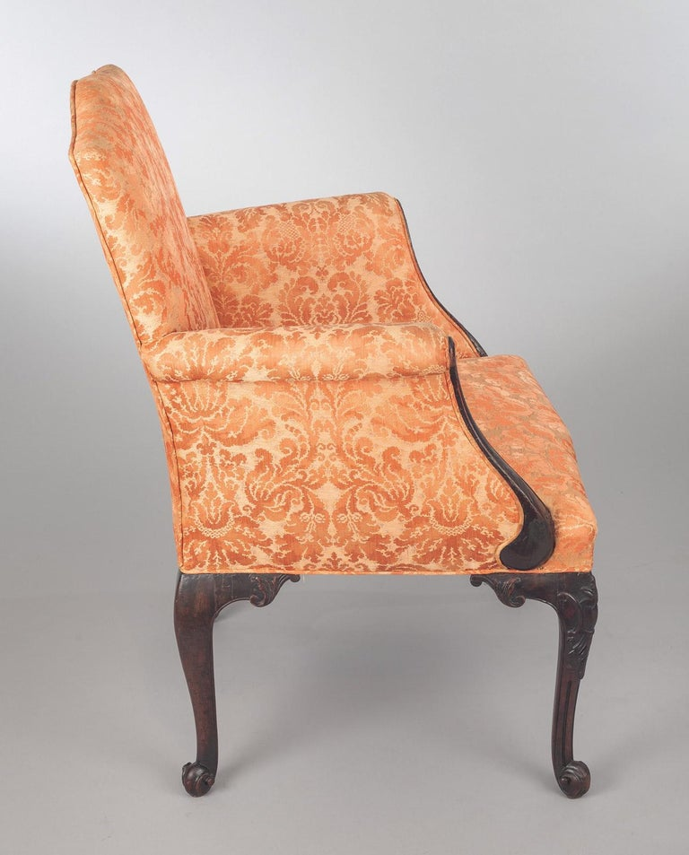 English George II Carved Mahogany Bergere Armchair For Sale