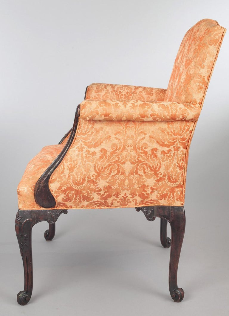 George II Carved Mahogany Bergere Armchair In Good Condition For Sale In Sheffield, MA