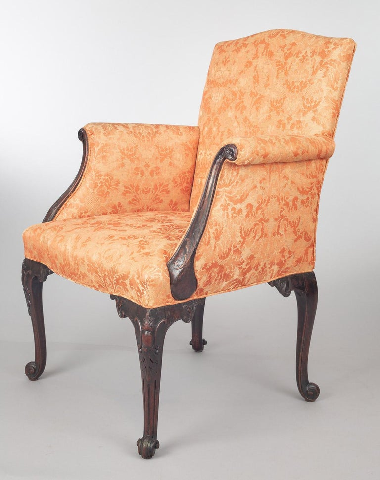 18th Century George II Carved Mahogany Bergere Armchair For Sale