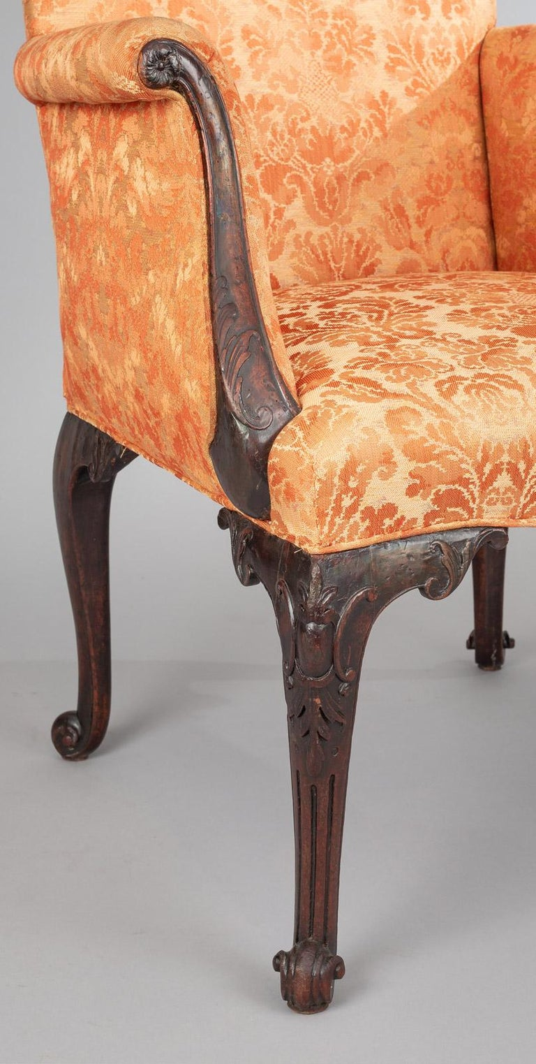 Fabric George II Carved Mahogany Bergere Armchair For Sale