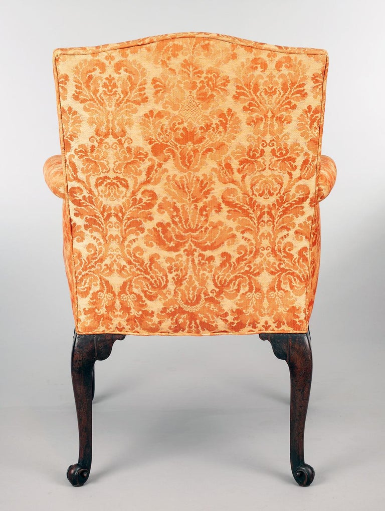 George II Carved Mahogany Bergere Armchair For Sale 2
