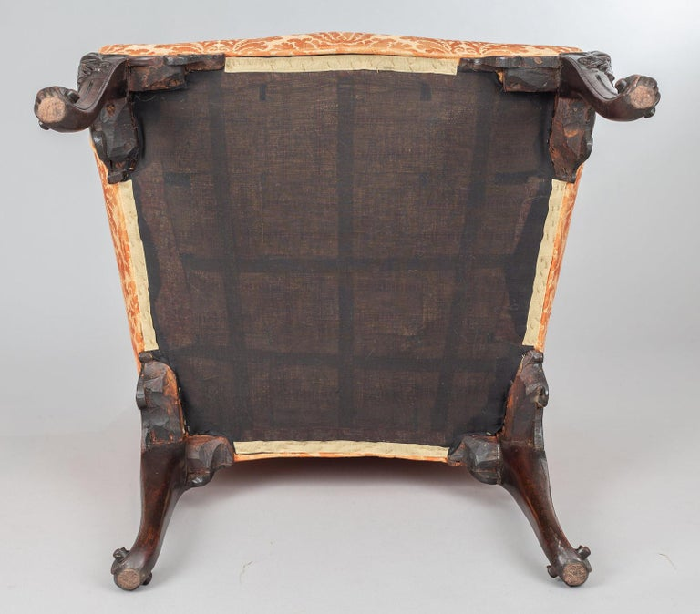 George II Carved Mahogany Bergere Armchair For Sale 3