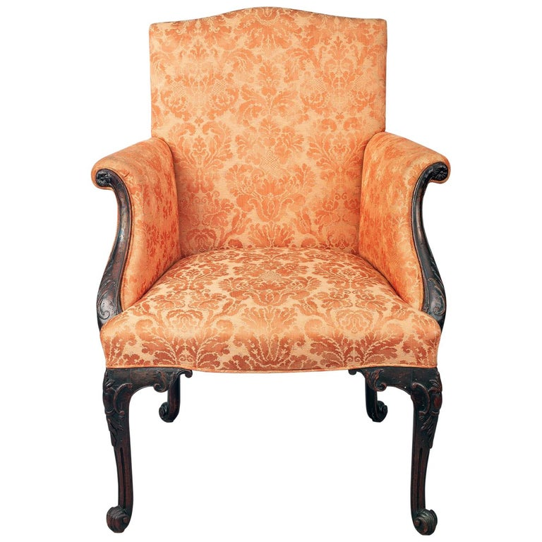 George II Carved Mahogany Bergere Armchair For Sale