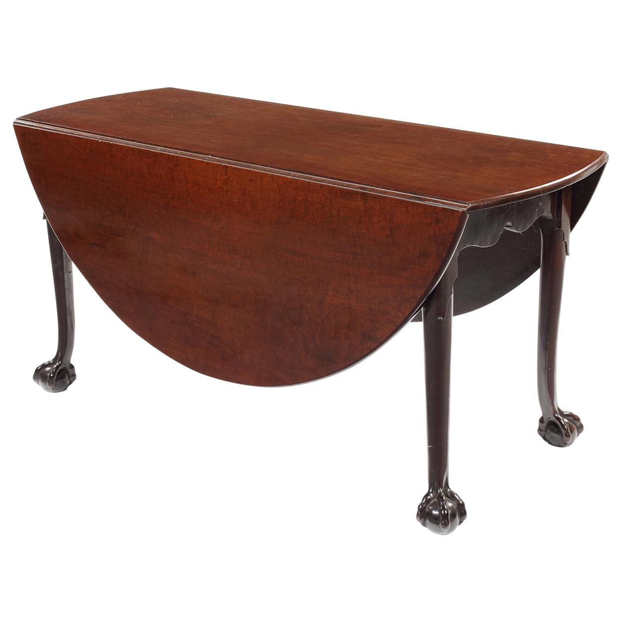 18th Century George II Carved Mahogany Drop Flap Dining Table