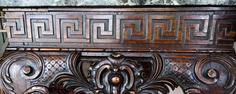 Hand-Carved George II Carved Mahogany Marble-Topped Side Table, English, circa 1750 For Sale