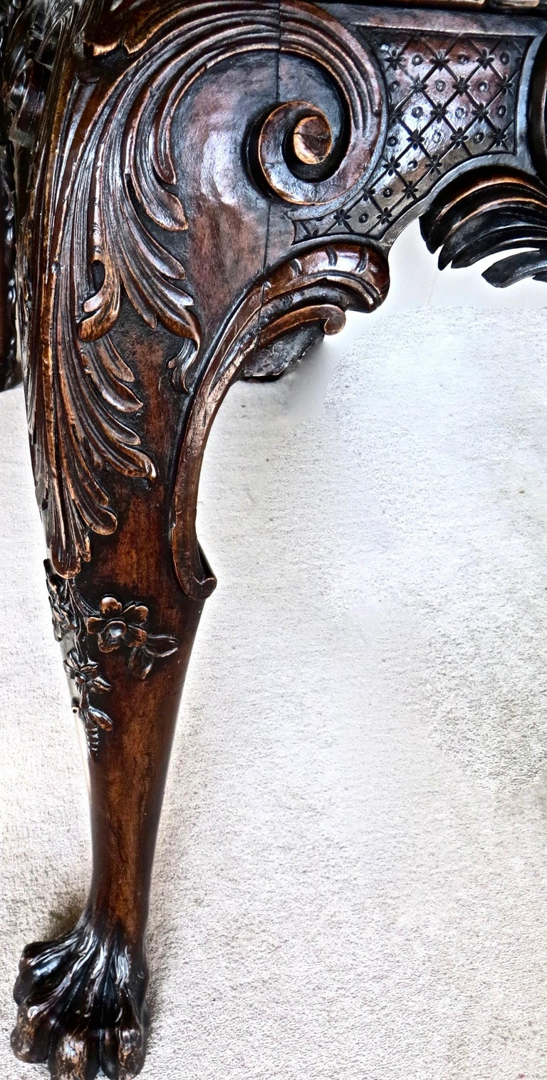George II Carved Mahogany Marble-Topped Side Table, English, circa 1750 For Sale 1