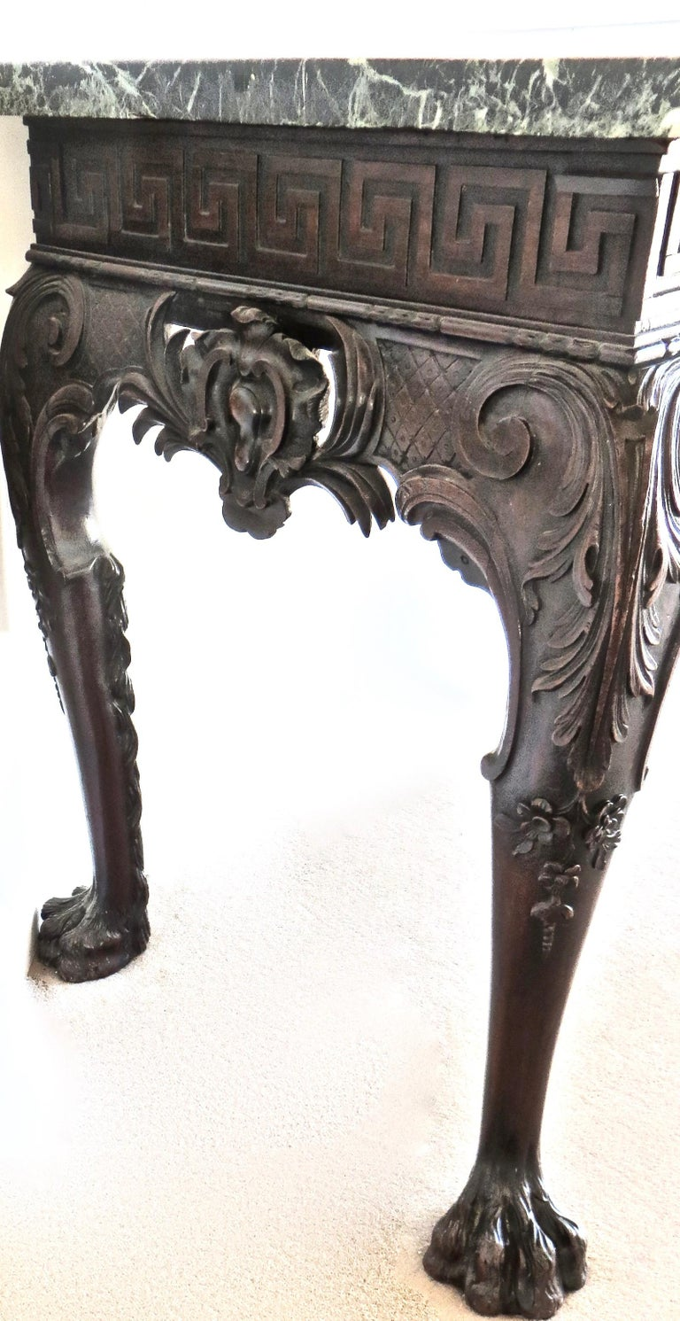 George II Carved Mahogany Marble-Topped Side Table, English, circa 1750 For Sale 2