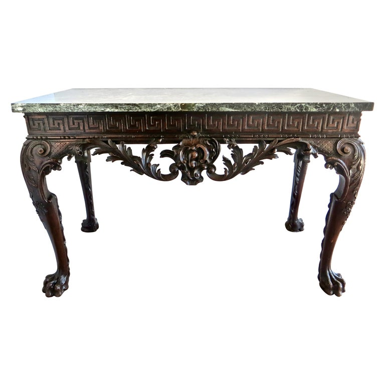 George II Carved Mahogany Marble-Topped Side Table, English, circa 1750 For Sale