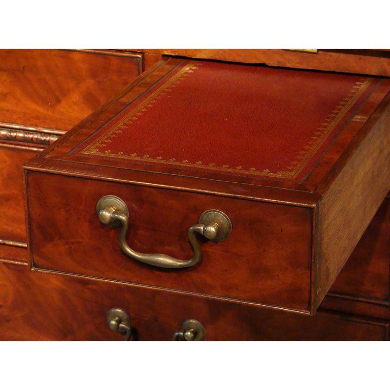 George II English Mahogany Bureau Cabinet Bookcase For Sale 5