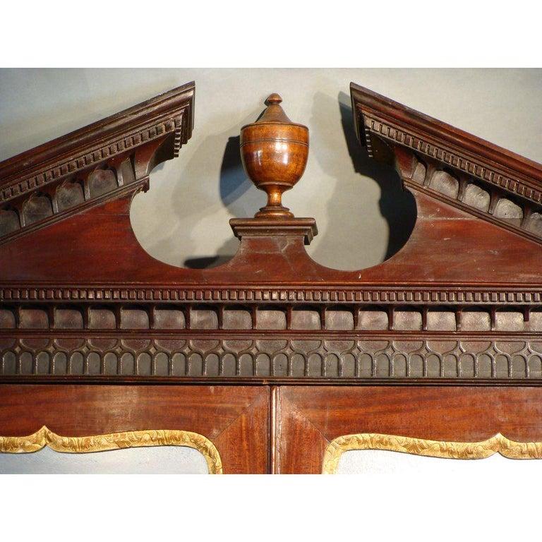 Georgian George II English Mahogany Bureau Cabinet Bookcase For Sale