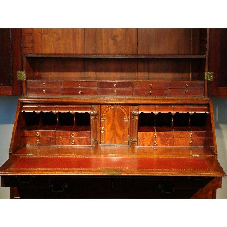 Mid-18th Century George II English Mahogany Bureau Cabinet Bookcase For Sale