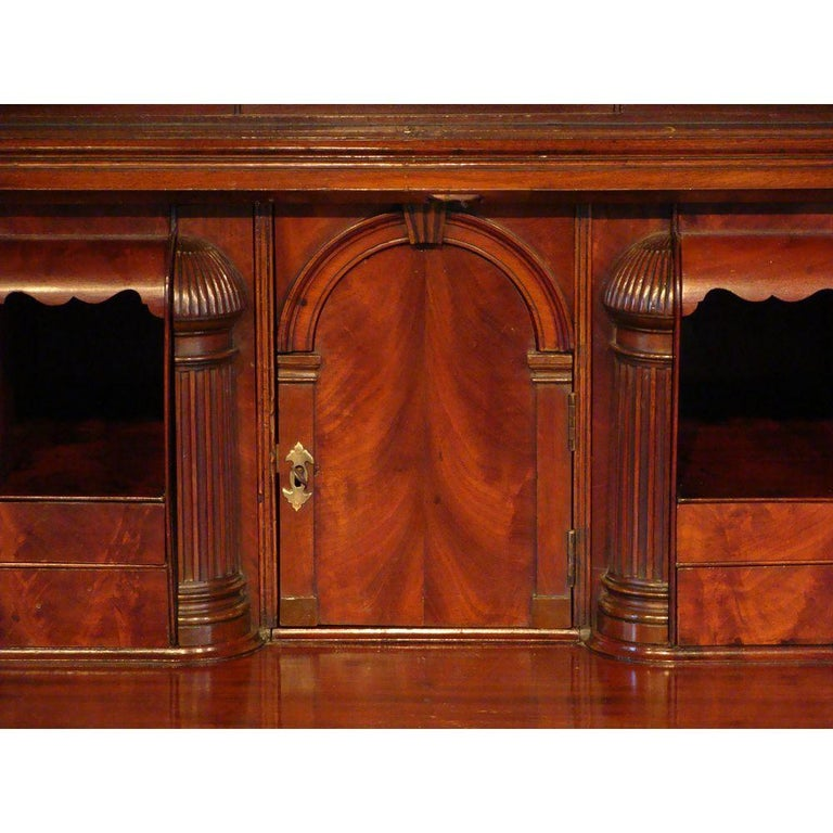 George II English Mahogany Bureau Cabinet Bookcase For Sale 2
