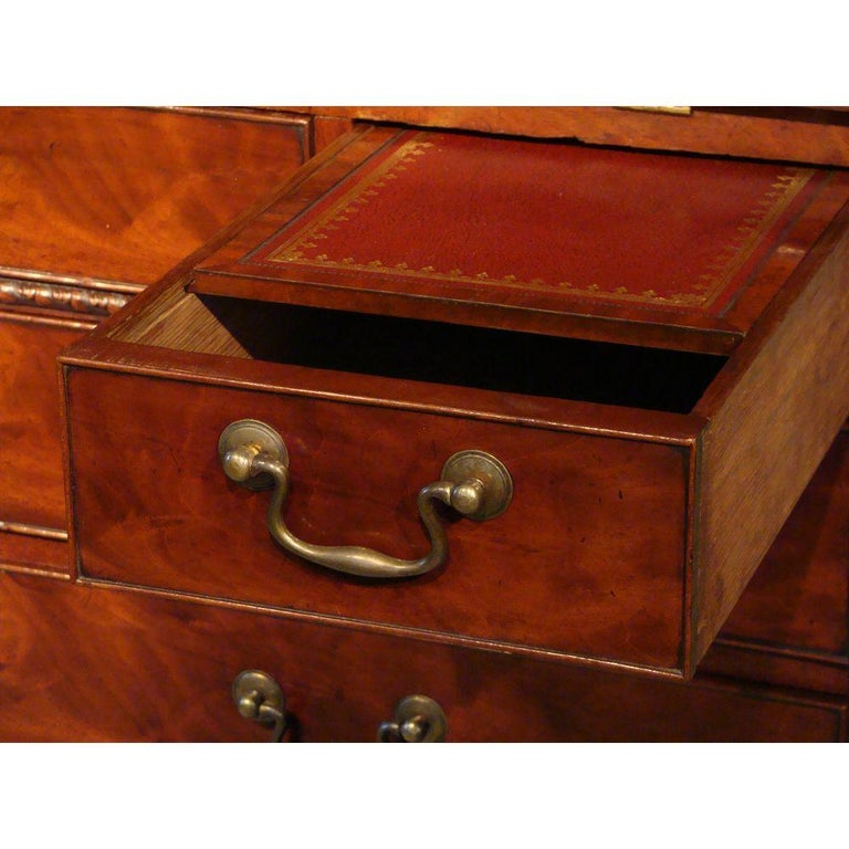 George II English Mahogany Bureau Cabinet Bookcase For Sale 3