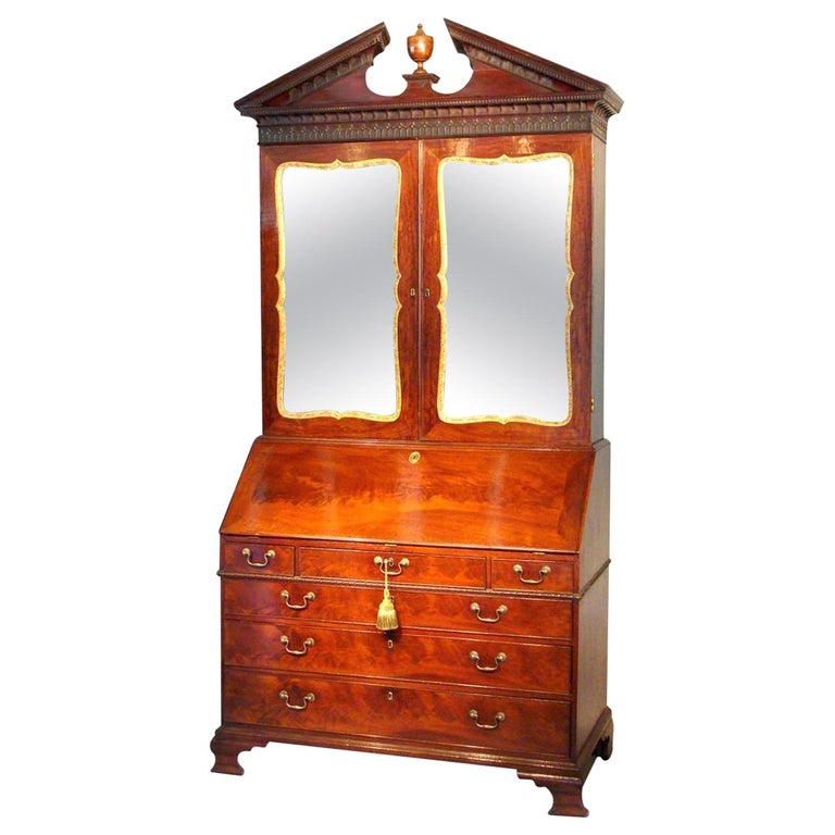 George II English Mahogany Bureau Cabinet Bookcase For Sale