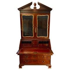 George II English Mahogany Bureau Cabinet Bookcase
