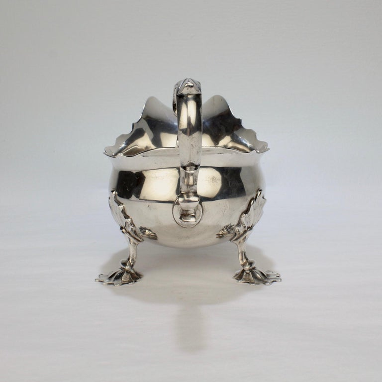 George II English Sterling Silver Gravy or Sauce Boat by George Hunter, 1751 For Sale 1