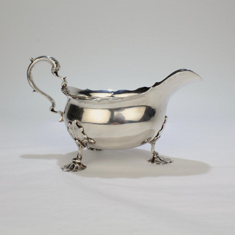 George II English Sterling Silver Gravy or Sauce Boat by George Hunter, 1751 For Sale 3